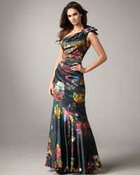 Teri Jon | Black One-shoulder Floral-print Gown | Lyst