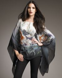 Roberto Cavalli | Gray Floral-print Ombre Chiffon Poncho | Lyst