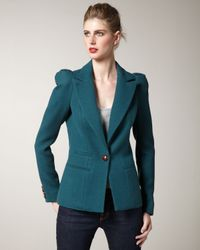 Smythe | Green Puff-sleeve Blazer | Lyst