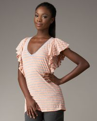 Splendid | Pink Striped Ruffle V-neck Top | Lyst