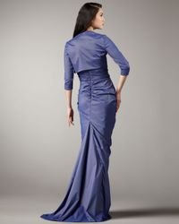 Tadashi Shoji   Blue Strapless Taffeta Gown with Bolero   Lyst