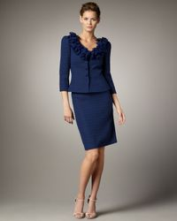 Tahari | Blue Ruffled Collar Suit | Lyst