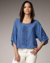 Textile Elizabeth and James | Blue Embroidered Parker Top | Lyst