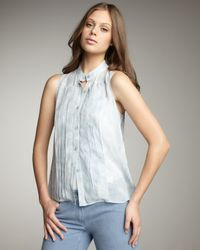 Theory | Blue Pintuck Sleeveless Blouse | Lyst