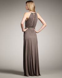 Theory - Brown Jersey Halter Maxi Dress - Lyst