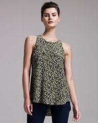 Theory - Green Leaf-print Silk Top - Lyst