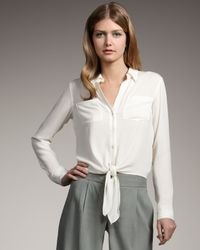Theory | Natural Orencia Tie-front Silk Blouse | Lyst