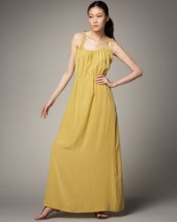 Theory | Yellow Tylie Maxi Dress with Ties | Lyst