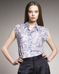 Theyskens' Theory   Blue Beyo Printed Cotton-voile Blouse   Lyst