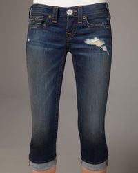 True Religion | Blue Lilly Dark Rancher Cropped Skinny Jeans | Lyst