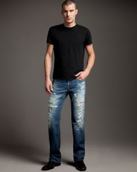 True Religion | Blue Ricky Nebraska Distressed Jeans for Men | Lyst