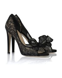 Valentino | Black Bow-embellished Lace Leather Pumps | Lyst