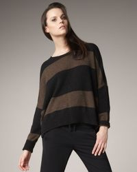 VINCE | Black Rugby-stripe Sweater | Lyst