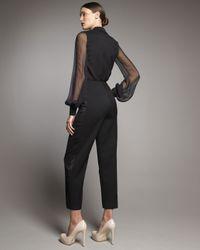 Saint Laurent - Black Sheer-sleeve Tuxedo Jumpsuit - Lyst