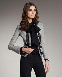 Zac Posen | Black Tweed Peplum Jacket | Lyst