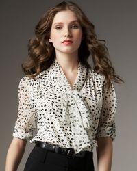 Alice + Olivia - White Arie Dalmatian-print Blouse - Lyst