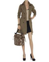 Gryphon - Green Pleated Cotton-blend Trench Coat - Lyst