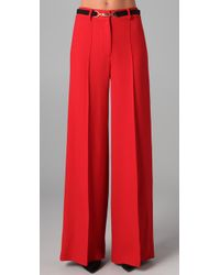 MILLY | Red Belted Hayden Trousers | Lyst