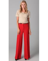 MILLY - Red Belted Hayden Trousers - Lyst