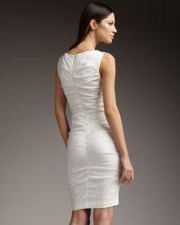 Nicole Miller | White Ruched Stretch-linen Sheath | Lyst