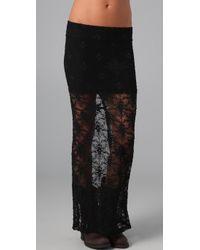 Nightcap - Black Back Slit Lace Maxi Skirt - Lyst