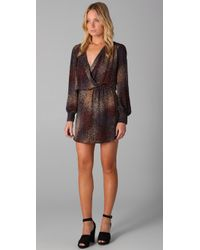 Parker | Brown Faux Wrap Dress | Lyst