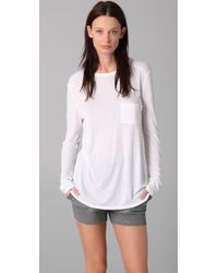 T By Alexander Wang | White Classic Long Sleeve Tee with Pocket | Lyst