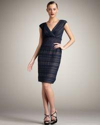 Tadashi Shoji - Blue Ruched Lace-waist Dress - Lyst