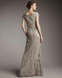 Tadashi Shoji - Gray Off-the-shoulder Lace Gown - Lyst