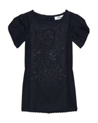 Tibi | Blue Embroidered Cotton and Silk-blend Blouse | Lyst