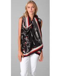DKNY | Black Sleeveless Scarf Cozy Vest | Lyst