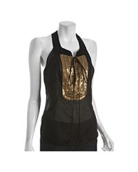 Robert Rodriguez | Black Sequin Bib Tank Top | Lyst