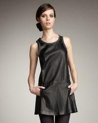 Theory | Black Sleeveless Crinkled Leather Dress | Lyst