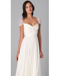 Reem Acra - White Twist Front Gown with Jeweled Sleeves - Lyst