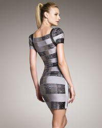 Hervé Léger | Gray Metallic Puff-sleeve Bandage Dress | Lyst