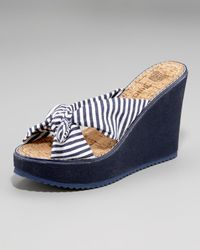Juicy Couture - Red Sea-stripe Canvas Wedge - Lyst
