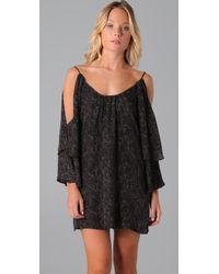 Parker - Black Slit Sleeve Dress - Lyst