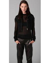Alexander Wang - Black Hooded Drape Sweater - Lyst