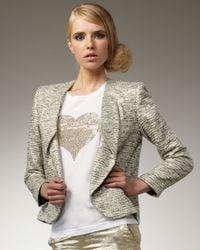 Alice + Olivia - Natural Amelia Sparkly Tweed Blazer - Lyst