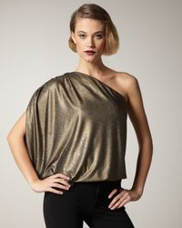 Alice + Olivia | Metallic Hannah Glittery One-shoulder Top | Lyst