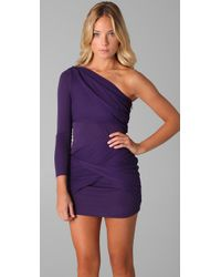 Alice + Olivia - Purple One Shoulder Goddess Dress - Lyst