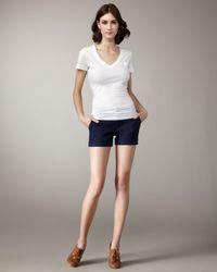 Alice + Olivia | Blue Cady Cuffed Shorts, Navy | Lyst