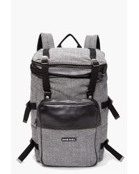 DIESEL | Gray Denim Backpack With Coated Stripe for Men | Lyst