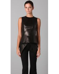 Cushnie et Ochs | Black Sleeveless Leather Peplum Top | Lyst