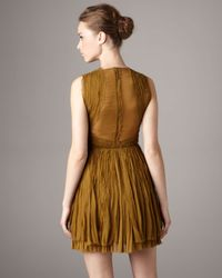 J. Mendel | Green V-neck Chiffon Pleated Dress | Lyst