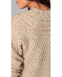 Lover - Natural Cable Knit Sweater - Lyst