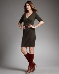 Ralph Lauren Black Label - Green Cashmere-silk Wrap Dress - Lyst