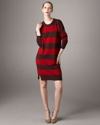 Stella McCartney | Red Wool/cashmere Striped Dress | Lyst