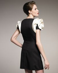 Valentino | Black Rose-shoulder Dress | Lyst