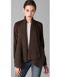 Vince - Brown Drape Front Leather Jacket - Lyst